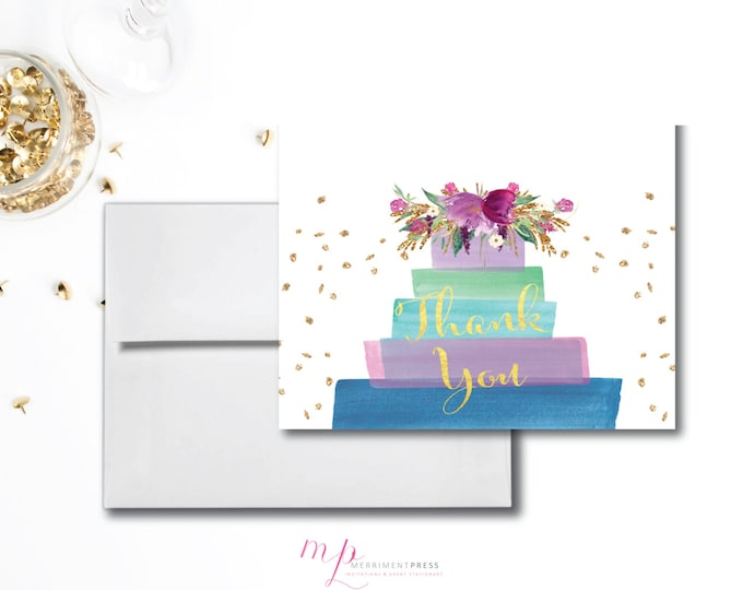 Purple and Gold Glitter THANK YOU CARD Instant Download Gold Foil Lilac Violet Blue Green Flowers Watercolor Folded A1 - Cake Collection