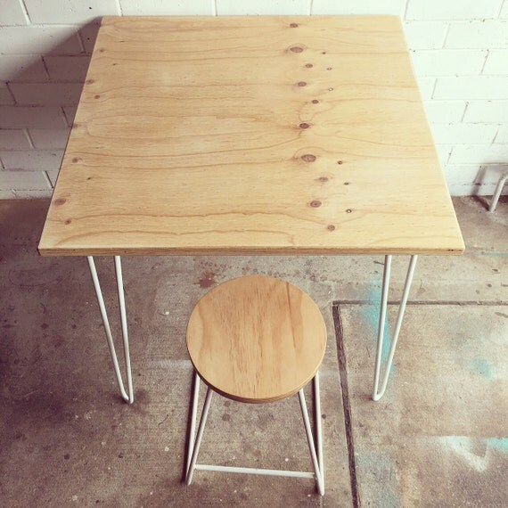 Hairpin leg cafe table with plywood top for Plywood table hairpin legs