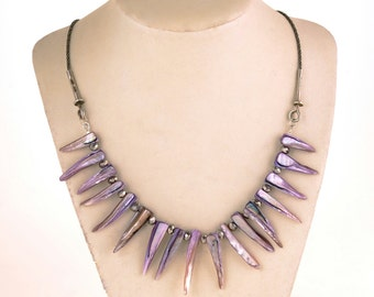 Mother of pearl necklace  Lavender necklace