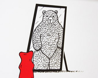 Limited Edition Silkscreen Illustration Print - Gummy Bear Napoleon Complex