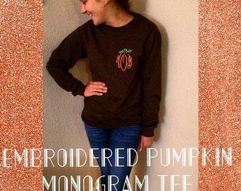 Monogram Pumpkin Tee (Embroidered)
