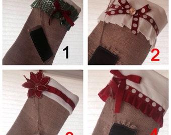 Burlap Christmas Stocking, Rustic burlap stocking, family stocking, Handmade custom stocking