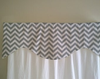 Gray chevron valance, Scalloped Gray valance, Lined valance, All colors Yellow, Blue, Black, Red, Brown, Purple, Natural, scalloped valance