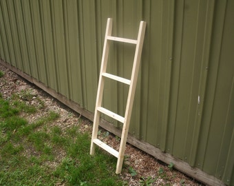 """44"""" rustic country  wooden ladder unfinished pine, quilt/towel rack, picture disply rack, wall decor"""