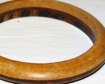 Bangle Bracelet Vintage Wood Unique Different Wood Each Side Vintage Bangle Bracelet