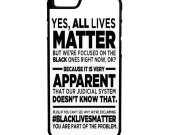 Yes All Lives Matter iPhone Galaxy Note LG HTC Protective Hybrid Rubber Hard Plastic Snap on Case white