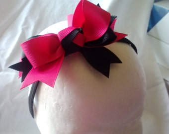 Pink/ black Bow Stretch Headband (PBSHB0215)