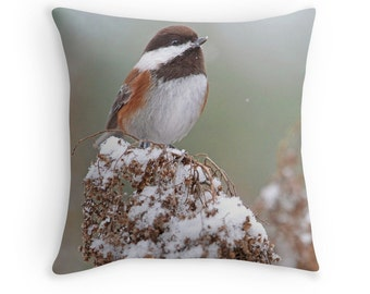 Bird Cushion, Bird Throw Pillow, Chickadee Cushion, Bird Decor, Bird in Snow, Chestnut Backed Chickadee, Small Birds, Birds in Winter