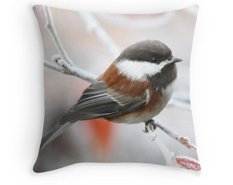 Chickadee Pillow, Bird Decor, Snow Bird Decor, Bird in Winter, Bird Cushions, Bird Throw Pillows, Winter Decor, Nature Decor, Wildlife Decor