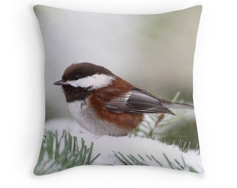 Woodland Cushion, Wildlife Decor, Winter Cushion, Winter Throw Pillow, Nature Decor, Chickadee Cushion, Chickadee Pillow, Winter Chickadee