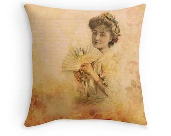 Boho Decor, Boho Pillow, Victorian Cushion, Victorian Pillow, Peach Cushion, Peach Pillow, Bohemian Decor, Feminine Cushion, Pink Decor