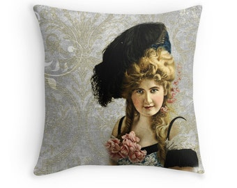 Bohemian Decor, Gift for Girlfriend, Victorian Cushion, Victorian Decor, Vintage Decor, Grey Damask Pillow, Boho Chic Decor, Boho Cushion