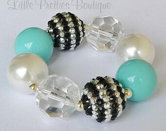 Black and Aqua Blue Bubblegum Bracelet, Chunky Bracelet, Bracelet, Children's Bracelet, Girl's Bracelet, Chunky Bead Bracelet, BB44