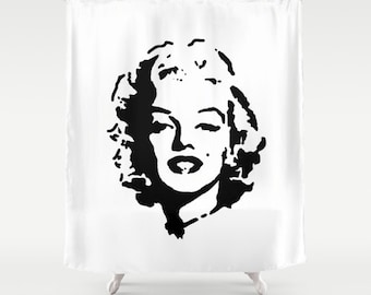 Marilyn Monroe Shower Curtain - Dorm Decor - Teen Shower Curtain - Dorm Shower Curtain - Black and White - Marilyn Monroe - Gift Ideas