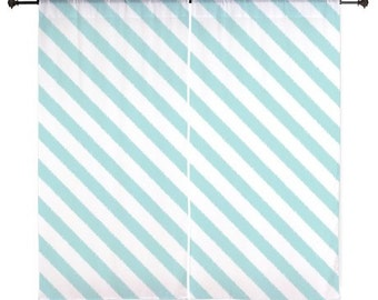 Chiffon Curtains - Bedroom Curtains - Sheer Curtains - Dorm Room Curtains - Girls Curtains - Teen Curtains - Stripes - Aqua - Blue
