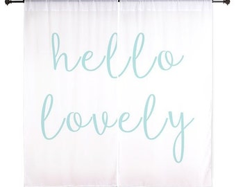 Chiffon Curtains - Hello Lovely - Girls Curtains - Teen Curtains - Sheer Curtains - Dorm Room Curtains - Girls Curtains - Bedroom Curtains
