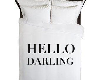 Hello Darling Duvet Cover, Girls Bedroom Decor, Black and White Bedding, Teen Girl Room Decor, Dorm Bedding, Duvet Cover Queen, Twin, King