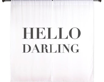 Chiffon Curtains - Hello Darling - Black and White Curtains - Sheer Curtains - Girls Curtains - Bedroom Curtains - Teen Curtains