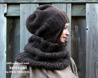 Knit cowl, Wool cowl, brown knit cowl, chunky knit scarf, winter fashion cowl, super soft and cozy knit snood, 10 colors available