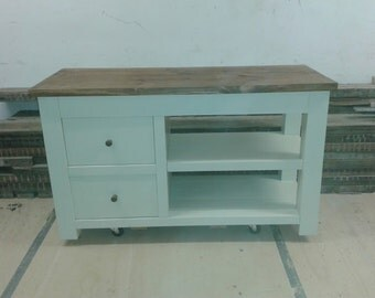 Chunky rustic reclaimed timber Large TV unit with draws Painted