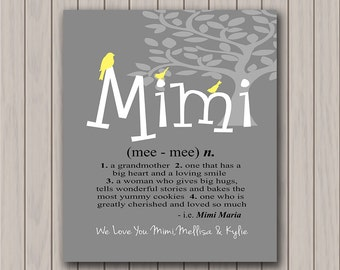 Mimi Gift - Gift from Grandchildren - Mimi Definition - We or I Love You - Add Your Childrens Names and Message -  Available in Any Color