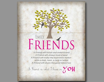 Friendship Prints - Best Friend Gift - Birthday Gift - Bridesmaid Gift - Thank You for Being a Friend - Old Parchment Effect