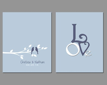 First 1st Anniversary - Wedding Gift - Gift for Couples - Set of Two Personalized Prints Available in any Color