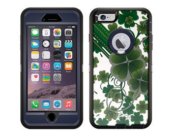 Apple iPhone 6 Otterbox Defender Lucky Clovers on White (B-522-W)