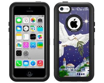 Apple iPhone 5C Otterbox Defender Peace on Earth Dove (B-349)
