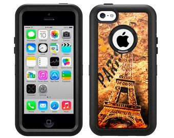 Apple iPhone 5C Otterbox Defender Paris Eiffel Tower Art (B-427)