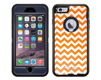 Apple iPhone 6 Otterbox Defender Chevron Zig Zag Orange White (B-849-W)