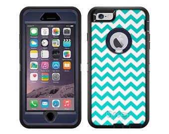 Apple iPhone 6 Otterbox Defender Chevron Zig Zag Turquoise White (B-856-W)