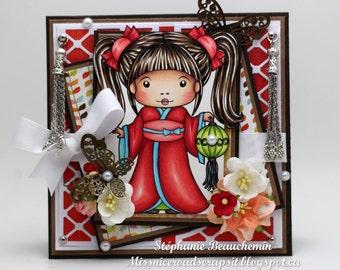 Asian young woman in kimono card