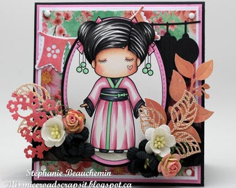 Classic feminine kimono card