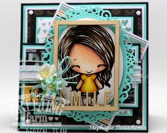 Teal SMILE card for girl