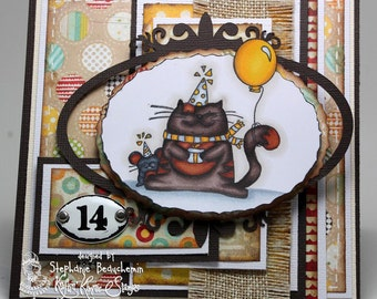 Cat and mouse birthday card