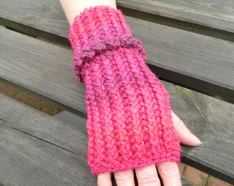 Fingerless Mittens Crocheted in Various Shades of Pink