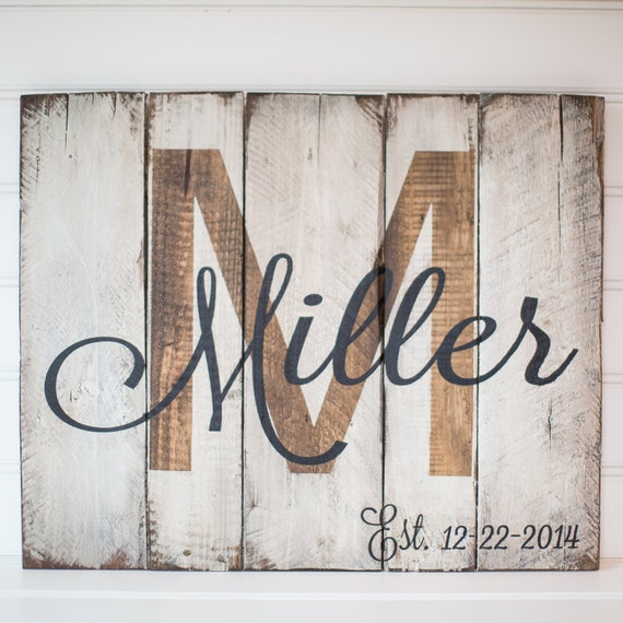 Last name with est. date rustic wooden sign made from