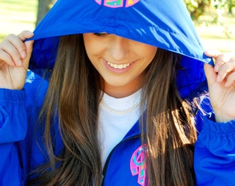 Preppy Charles River Pack N Go Pullover Wind Jacket with Lilly Pulitzer Double Monogram Rain Jacket
