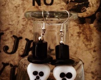 Glass Bead Skull Earrings