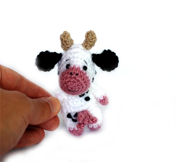 Small Toy Cows : Amigurumi cow tiny doll miniature little toy