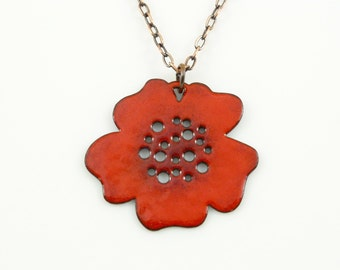 Reversible enamel blossom necklace on antiqued copper chain.