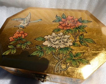 Chinese Gold Wooden Peony & Bird Jewelry Box