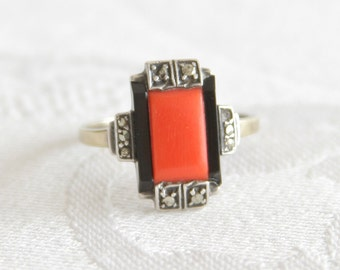 ART DECO Silver and Gold Ring Red Coral Onyx Marcasite Theodor Fahrner Style 8ct 8k 333 German Design Germany