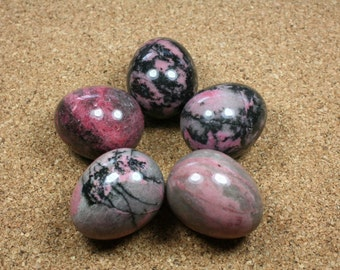 Rhodonite Egg - Pink and Black Rhodonite Egg