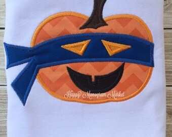 Ninja pumpkin appliqué shirt Halloween shirt for little boy Ninja tshirt for baby, toddler, child. Trick or Treat  Fall Halloween