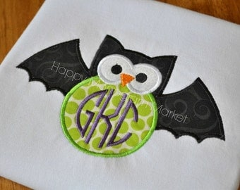 Halloween Owl Bat Applique Shirt with monogram Little girls Halloween tshirt or infant bodysuit Trick or treat Fall Halloween owl shirt.