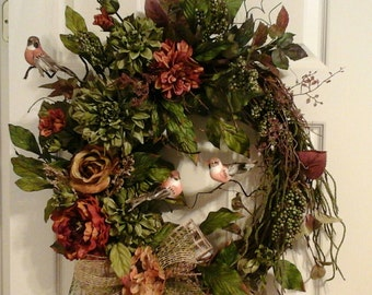 Tuscan Wreath, Winter Wreath, Grapevine Wreath, Elegant Designer Bird Wreath, Door, Mantel, Living Room, Kitchen  Wreath, SHIPPING INCLUDED