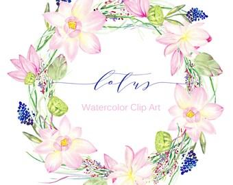 Wreaths Lotus Watercolor clip art hand drawn. Wedding, light green, tender pink lotus flowers wreaths, wedding invitation, water flowers