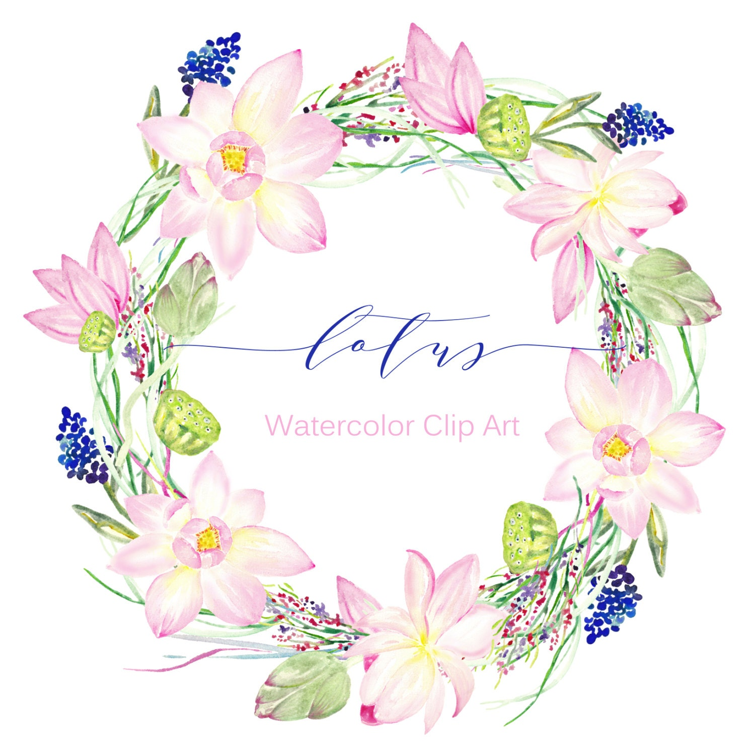 Wreaths Lotus Watercolor Clip Art Hand Drawn Wedding Light Green Tender Pink Lotus Flowers